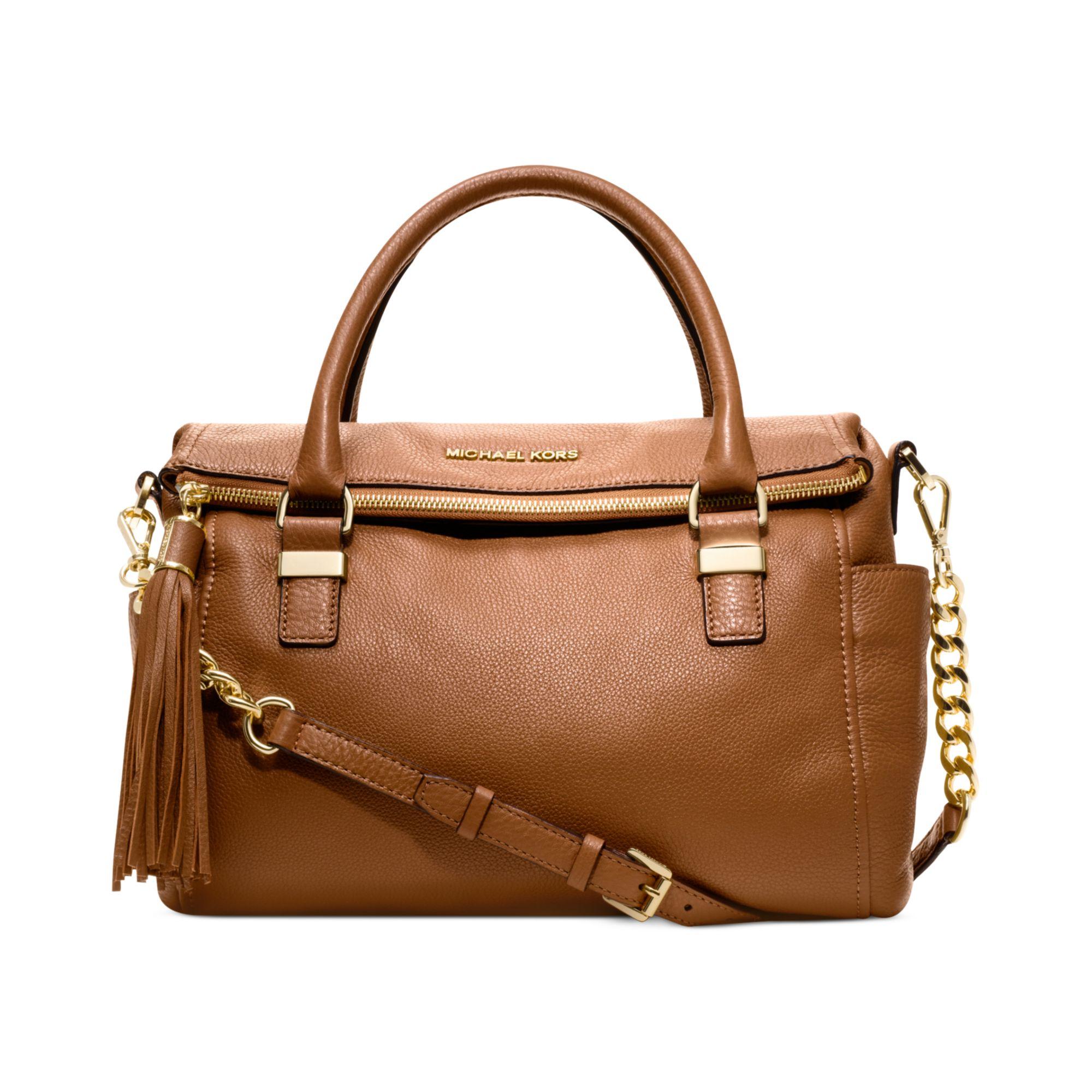 lyst michael kors weston medium satchel in brown rh lyst com