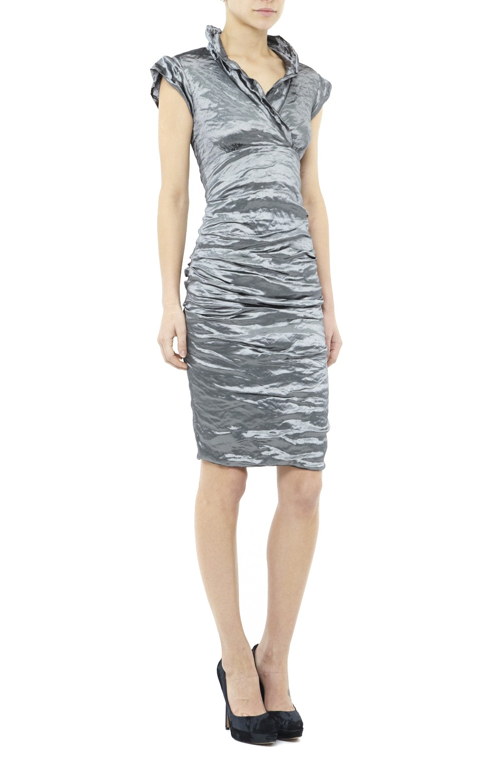 09200086 Nicole Miller Cap Sleeve Techno Metal Dress in Gray - Lyst