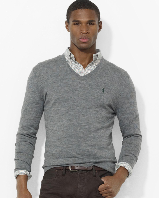 b3ce0623d Ralph Lauren Polo Merino Wool V Neck Sweater in Gray for Men - Lyst