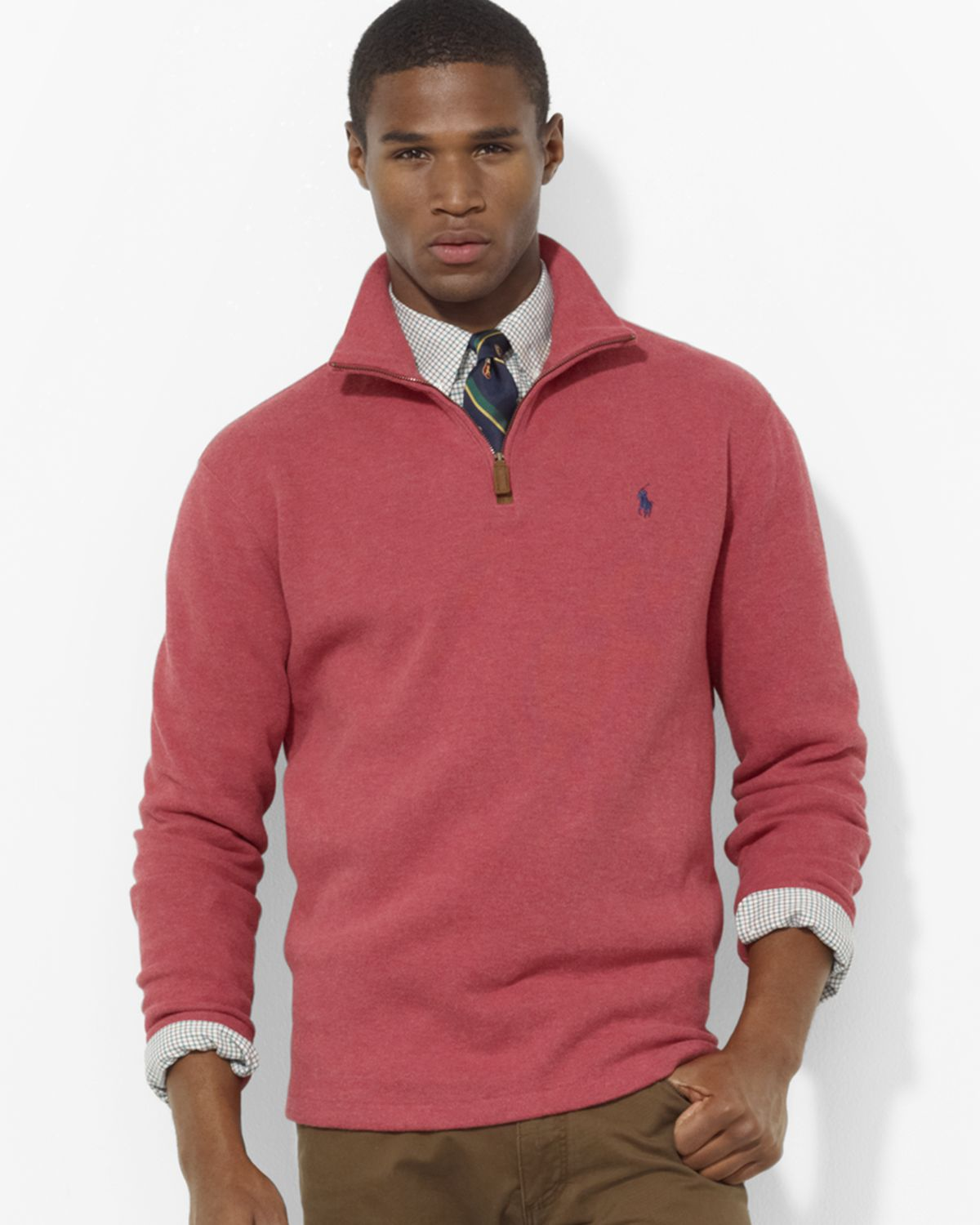 Ralph lauren Polo French Rib Half Zip Mock Neck Pullover Sweater ...