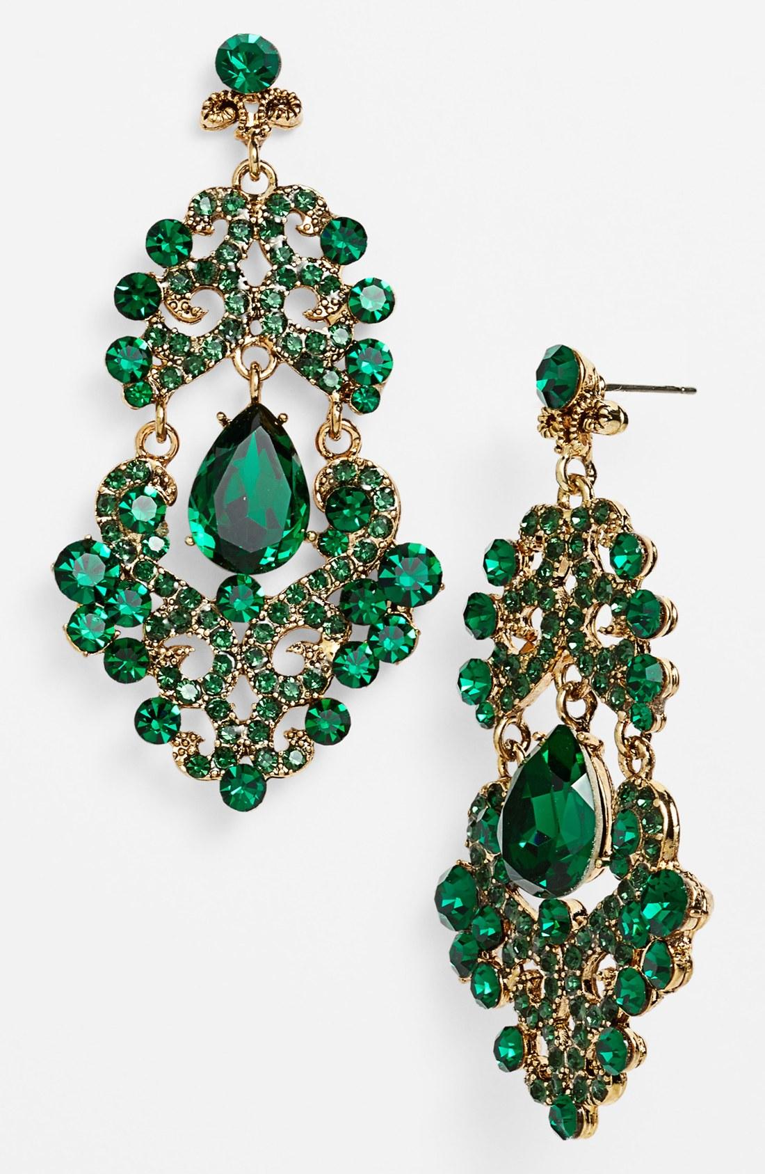 Tasha Ornate Chandelier Earrings in Green   Lyst