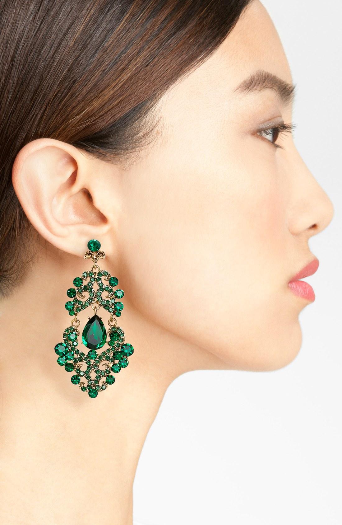 Tasha Ornate Chandelier Earrings in Green | Lyst