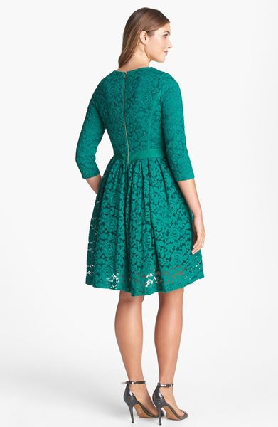 Taylor Dresses Lace Fit Flare Dress In Green Emerald