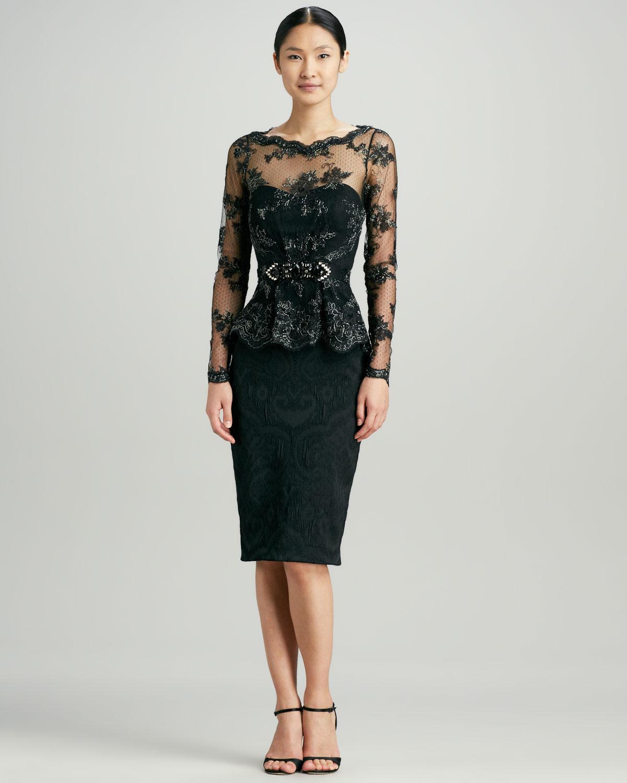 Lyst Badgley Mischka Lace Peplum Brocade Cocktail Dress In Black