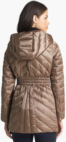 Bebe Hooded Down Feather Jacket In Gray Smoke Lyst