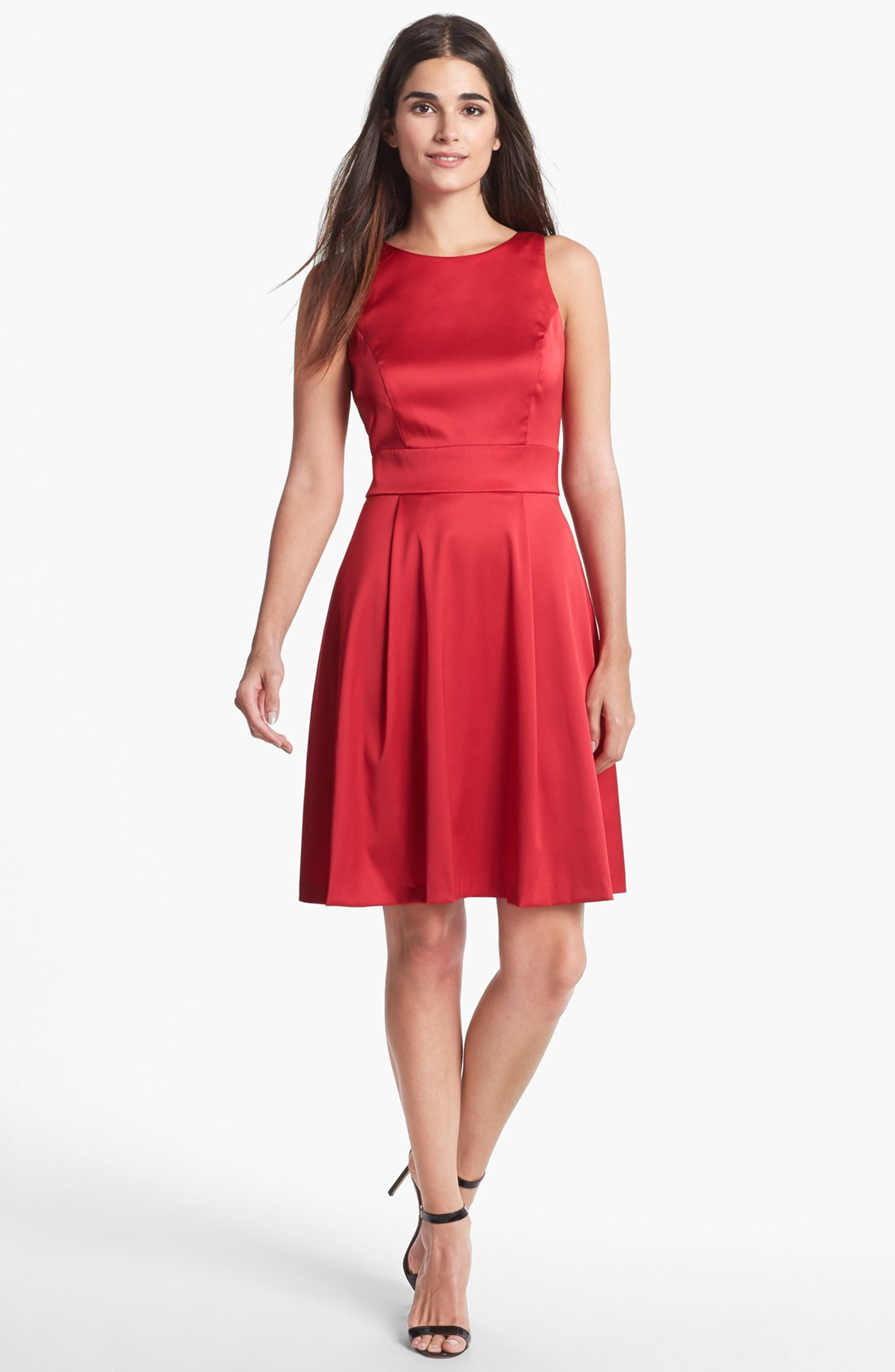 Donna Ricco Back Bow Satin Fit Flare Dress In Red Tango