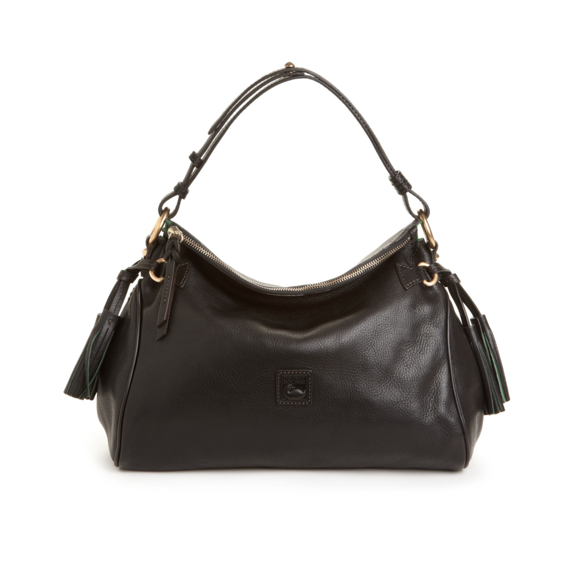 952b4d19e33 Lyst - Dooney   Bourke Florentine Vachetta Medium Zip Hobo Bag in Black