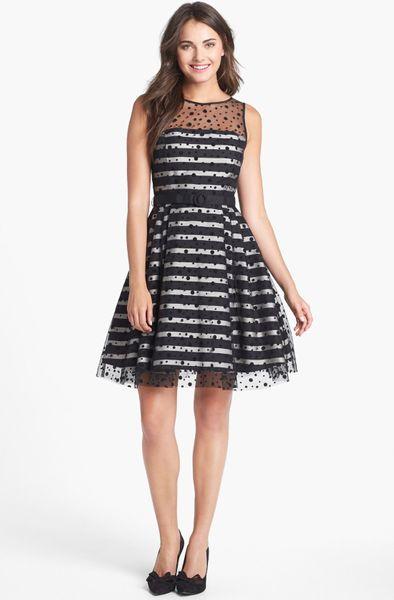 Eliza J Illusion Dot Stripe Fit Flare Dress In Black Lyst