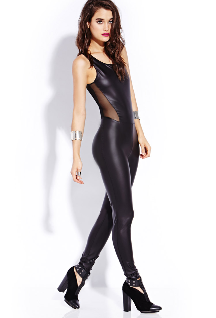 edfba6b253 Lyst - Forever 21 Standout Faux Leather Jumpsuit in Black