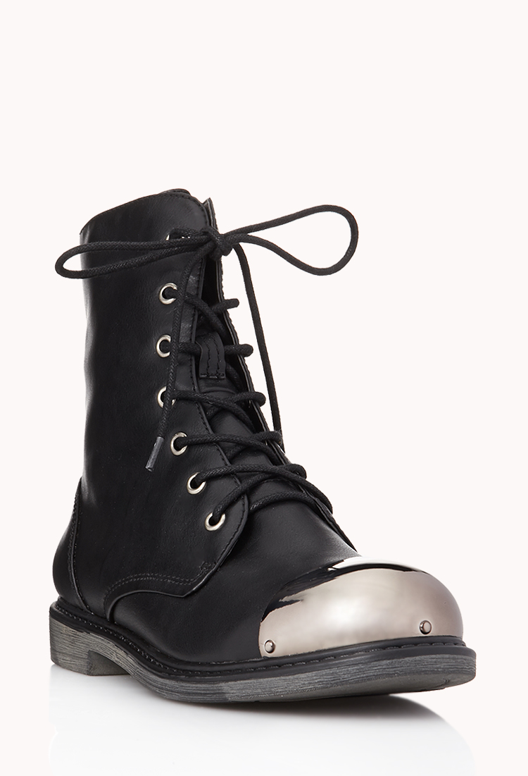 Lyst Forever 21 Street Chic Combat Boots In Black
