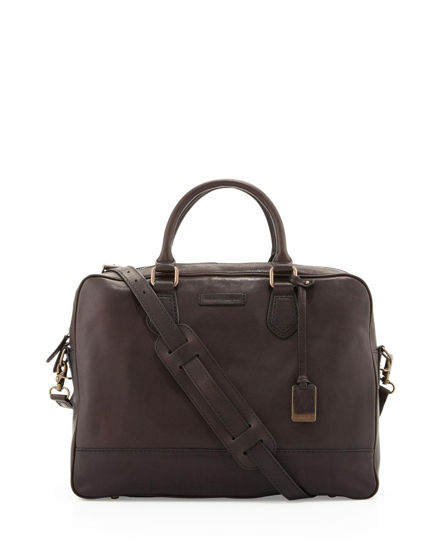 Frye James Slim Leather Briefcase Dark Brown in Black for ...