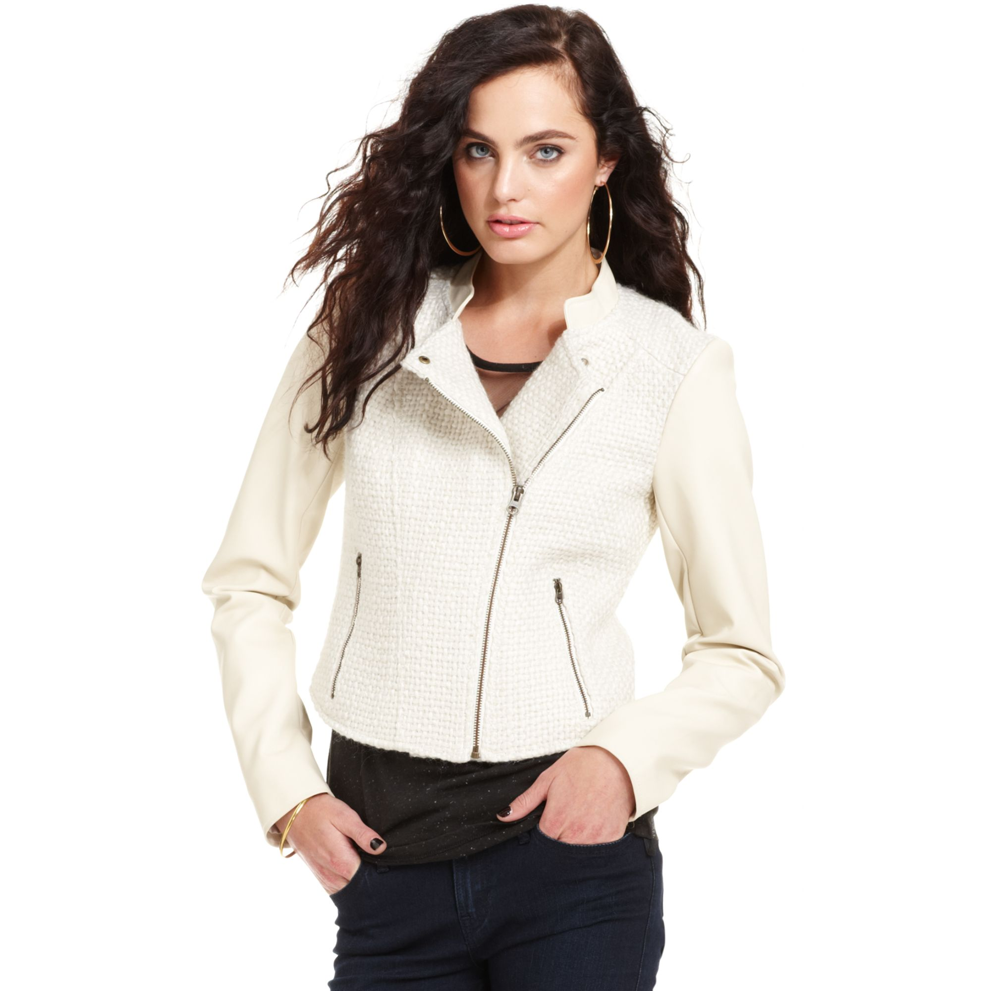 Guess white leather jacket
