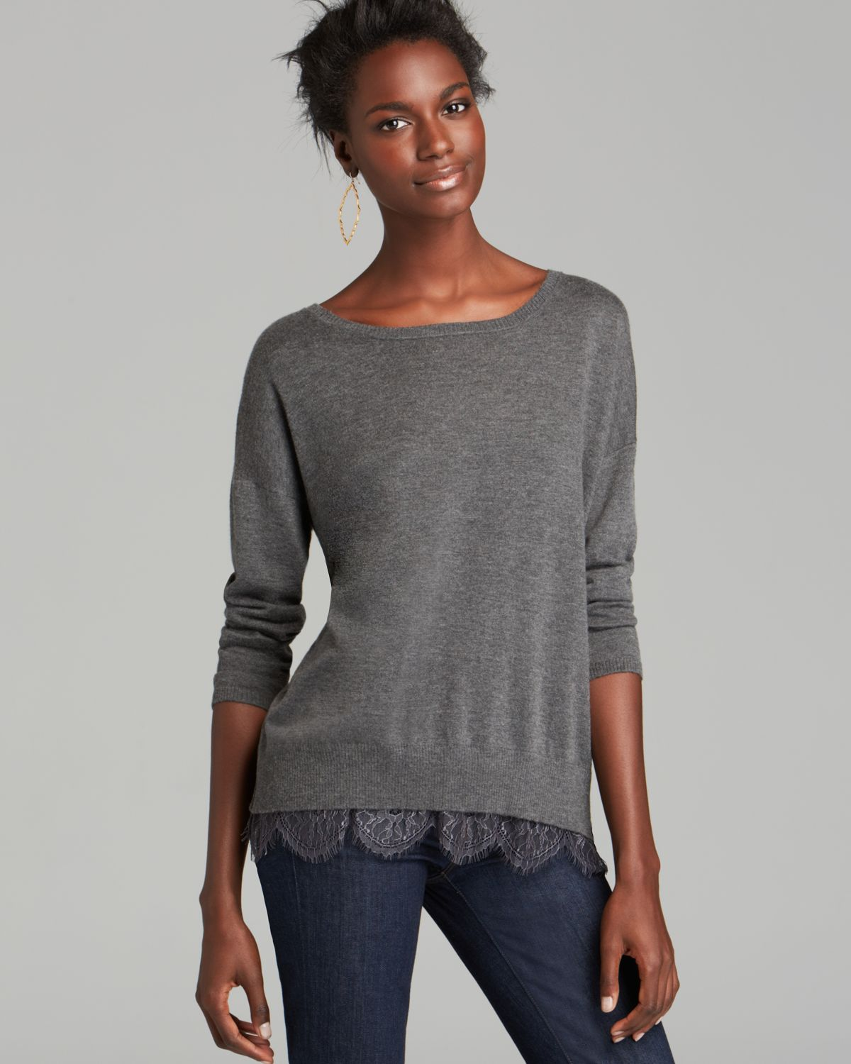 Joie Sweater Hilano Lace Trim in Gray | Lyst