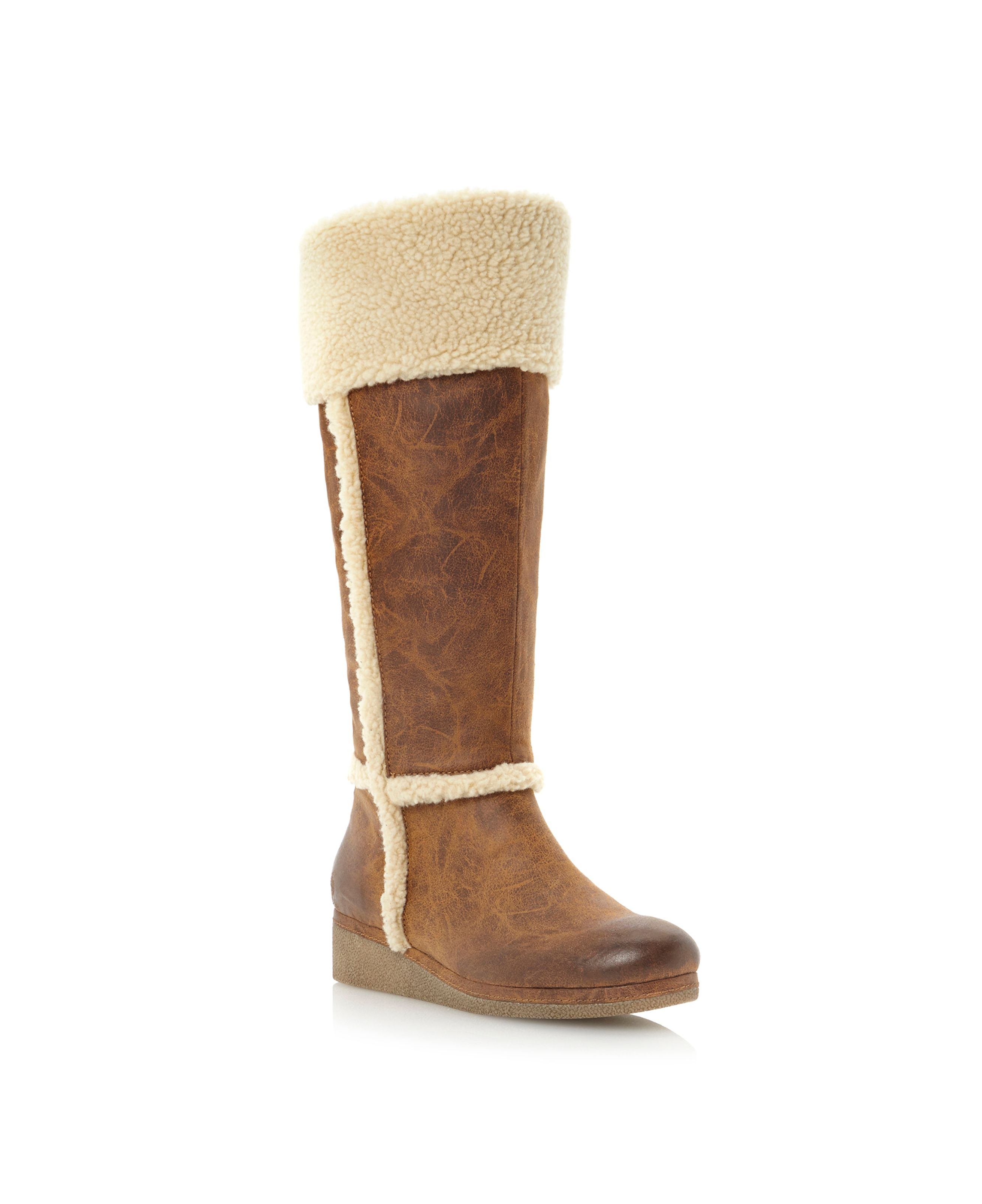 linea talgarth fur cuff crepe sole wedge boots in brown