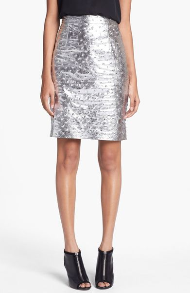 milly edith studded leather pencil skirt in silver lyst