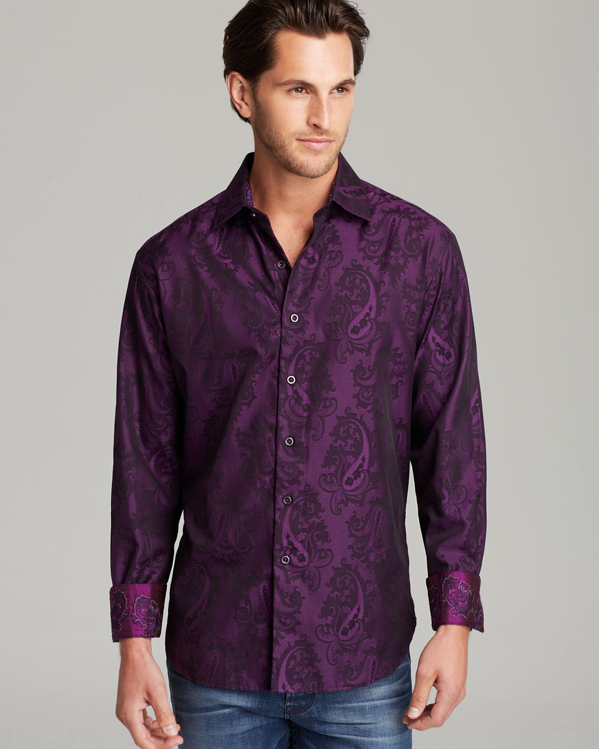 Robert graham copperhead jacquard paisley sport shirt for Where are robert graham shirts made