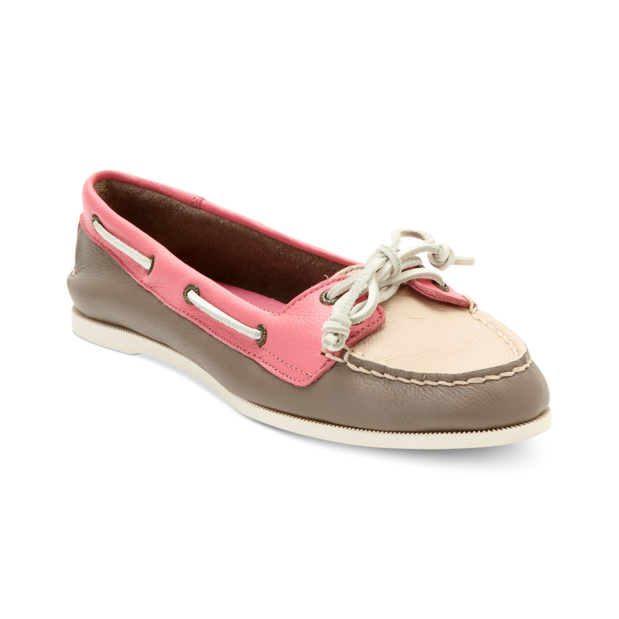 sperry top sider boat shoes in pink for griege