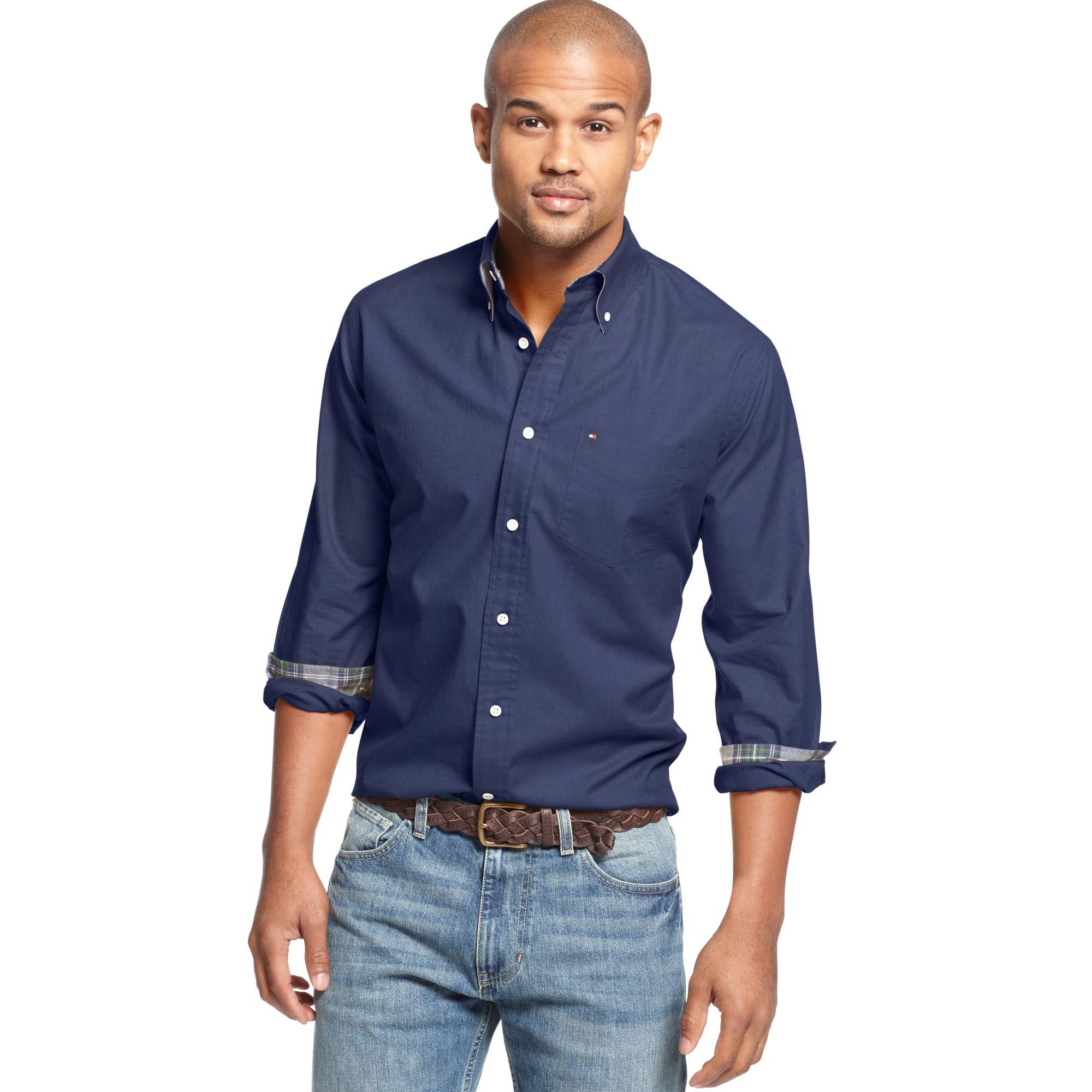 eda4463e Tommy Hilfiger Hartley Heather Twill Shirt in Blue for Men - Lyst