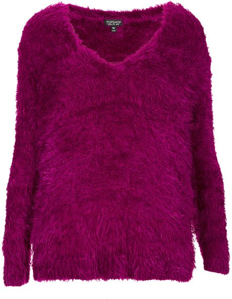 Topshop Knitted Fluffy V Neck Jumper in Purple Lyst