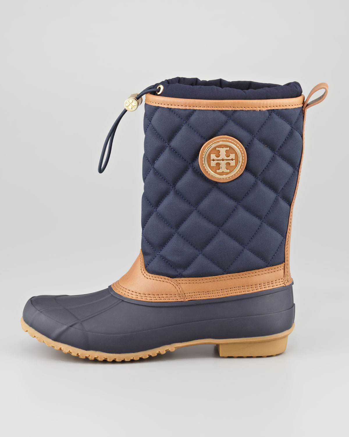 Lyst Tory Burch Denal Quilted Rain Boot Bright Navy In Blue