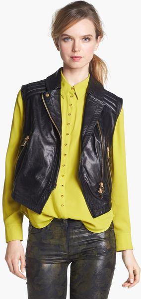 Vince Camuto Faux Leather Moto Vest In Black Rich Black