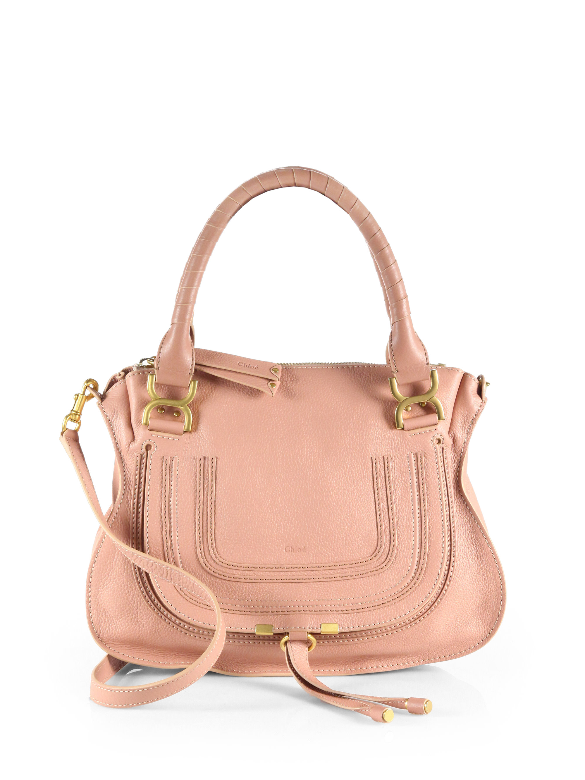 chlo marcie medium leather satchel in pink lyst. Black Bedroom Furniture Sets. Home Design Ideas