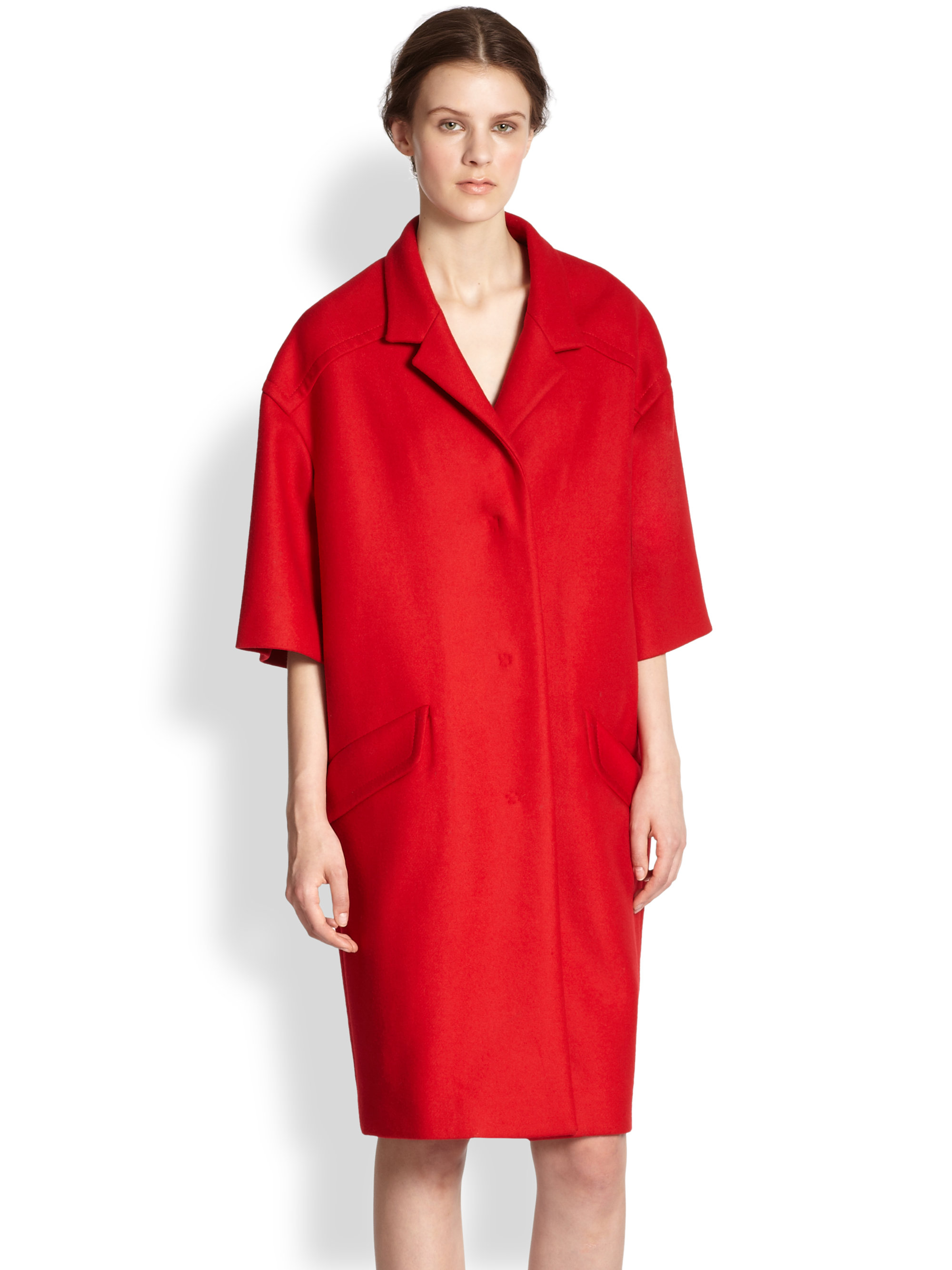 Dolce & gabbana Oversized Wool Coat in Red | Lyst