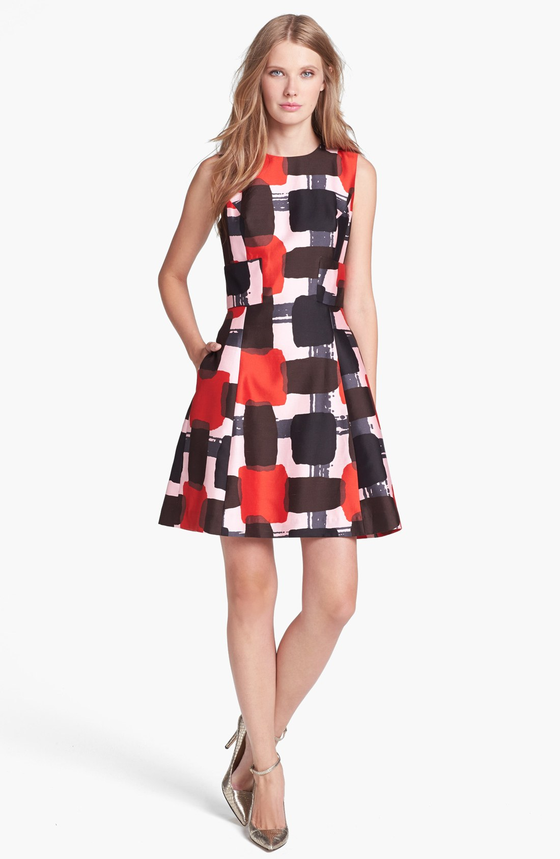Kate Spade Marti Print Cotton Blend Fit Flare Dress In