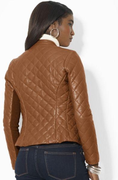 Lauren By Ralph Lauren Quilted Leather Moto Jacket In