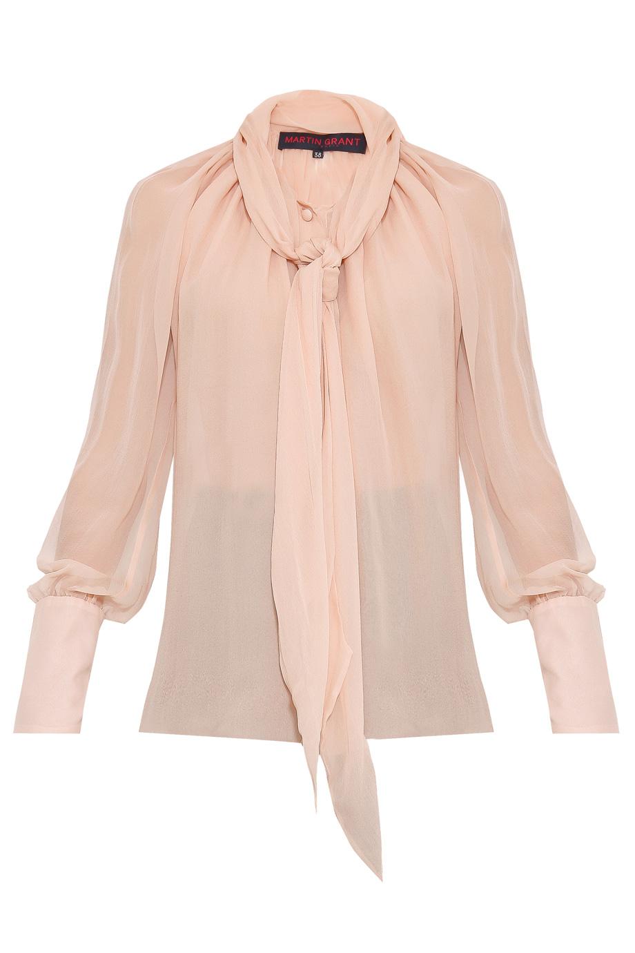 Martin Grant Scarf Collar Silk Blouse In Pink Lyst