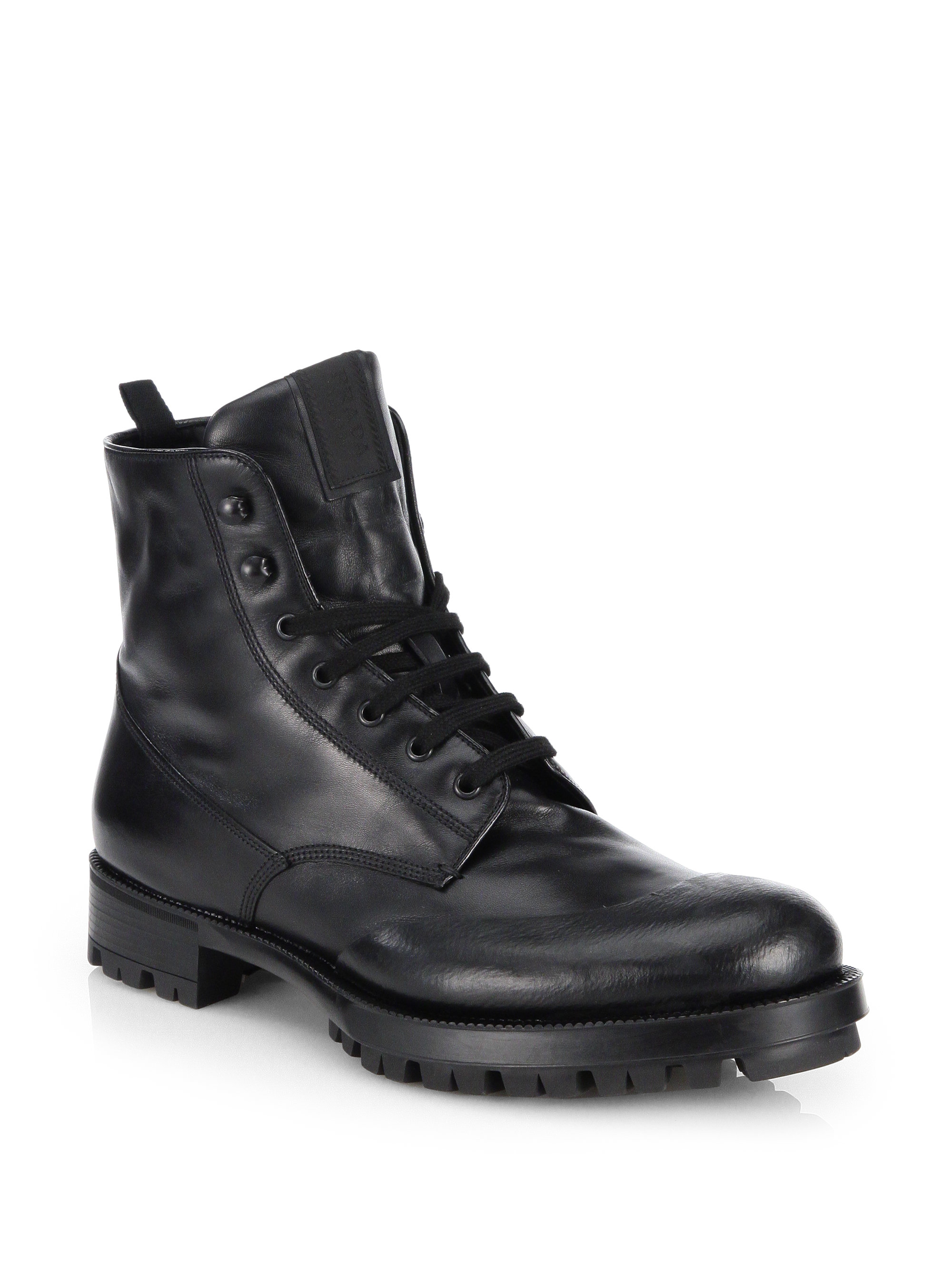 Prada Laceup Leather Combat Boots In Black For Men Lyst