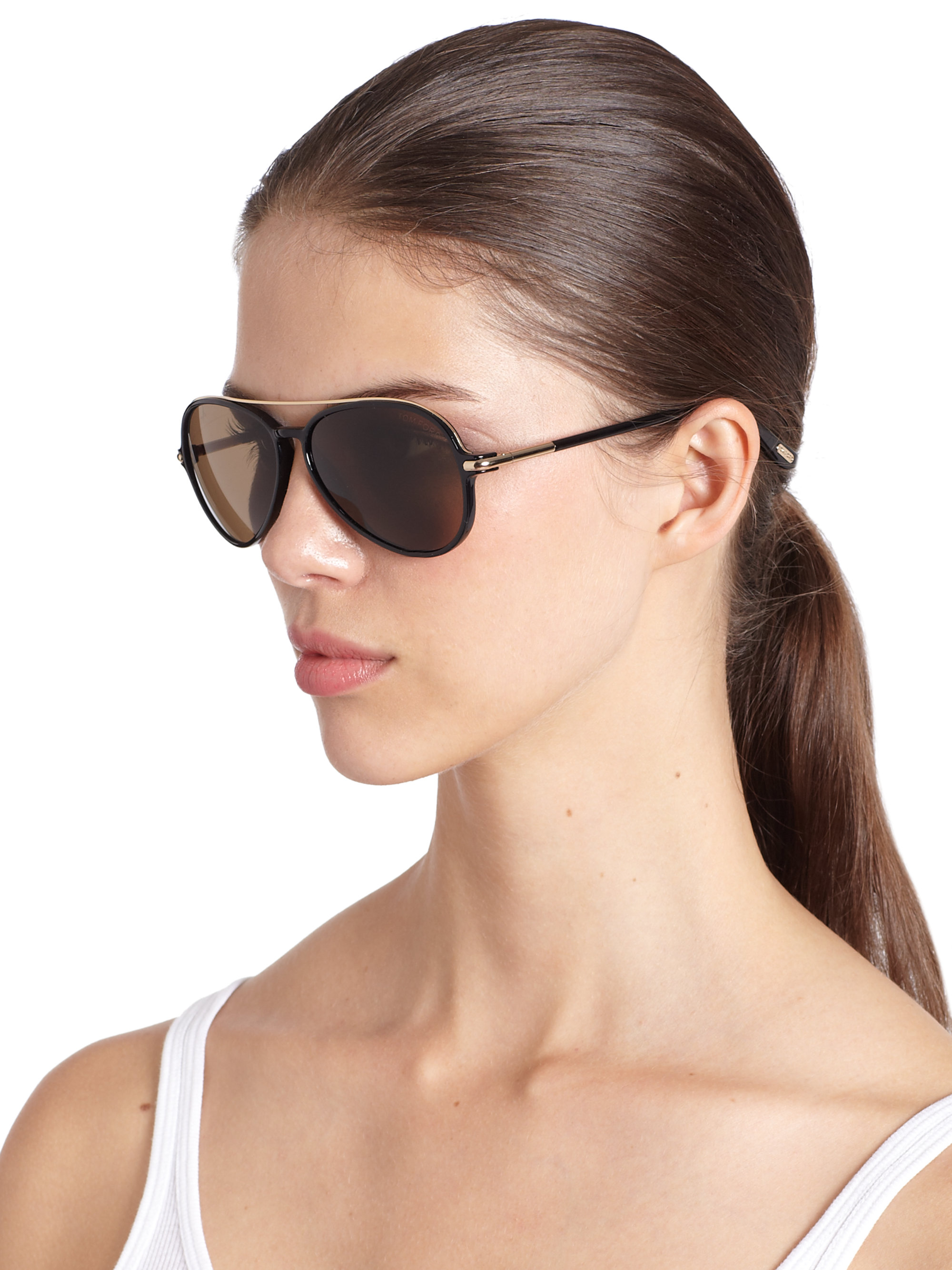 Tom Ford Ramone Injection Aviator Sunglasses In Brown Lyst