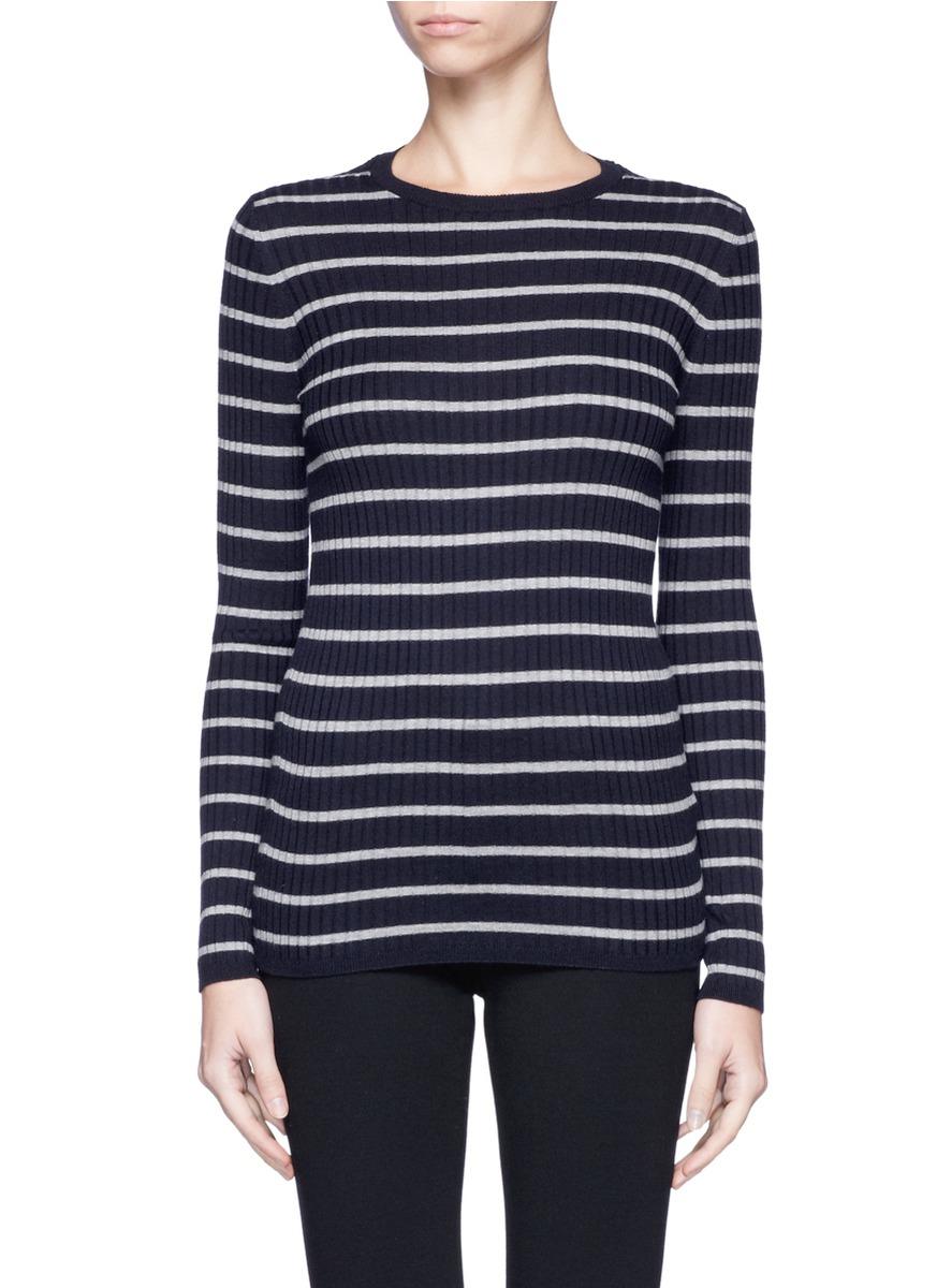 Vince Stripe Sweater Ribbed Knit Bleu ggr6Oqx