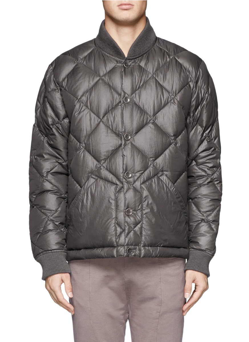 Ymc Quilted Down Jacket in Gray for Men | Lyst
