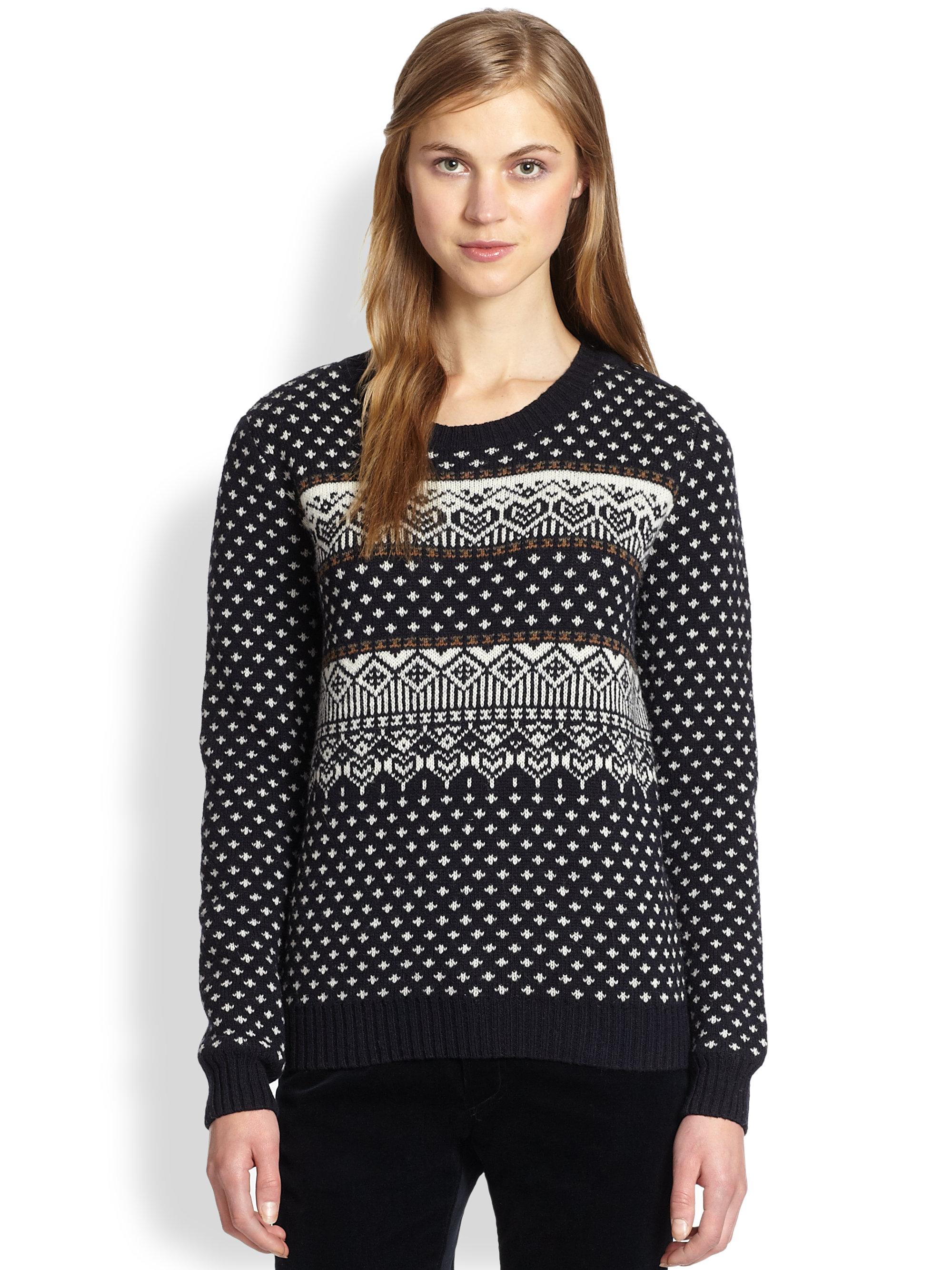 A.p.c. Merino Wool Fairisle Sweater in Black | Lyst