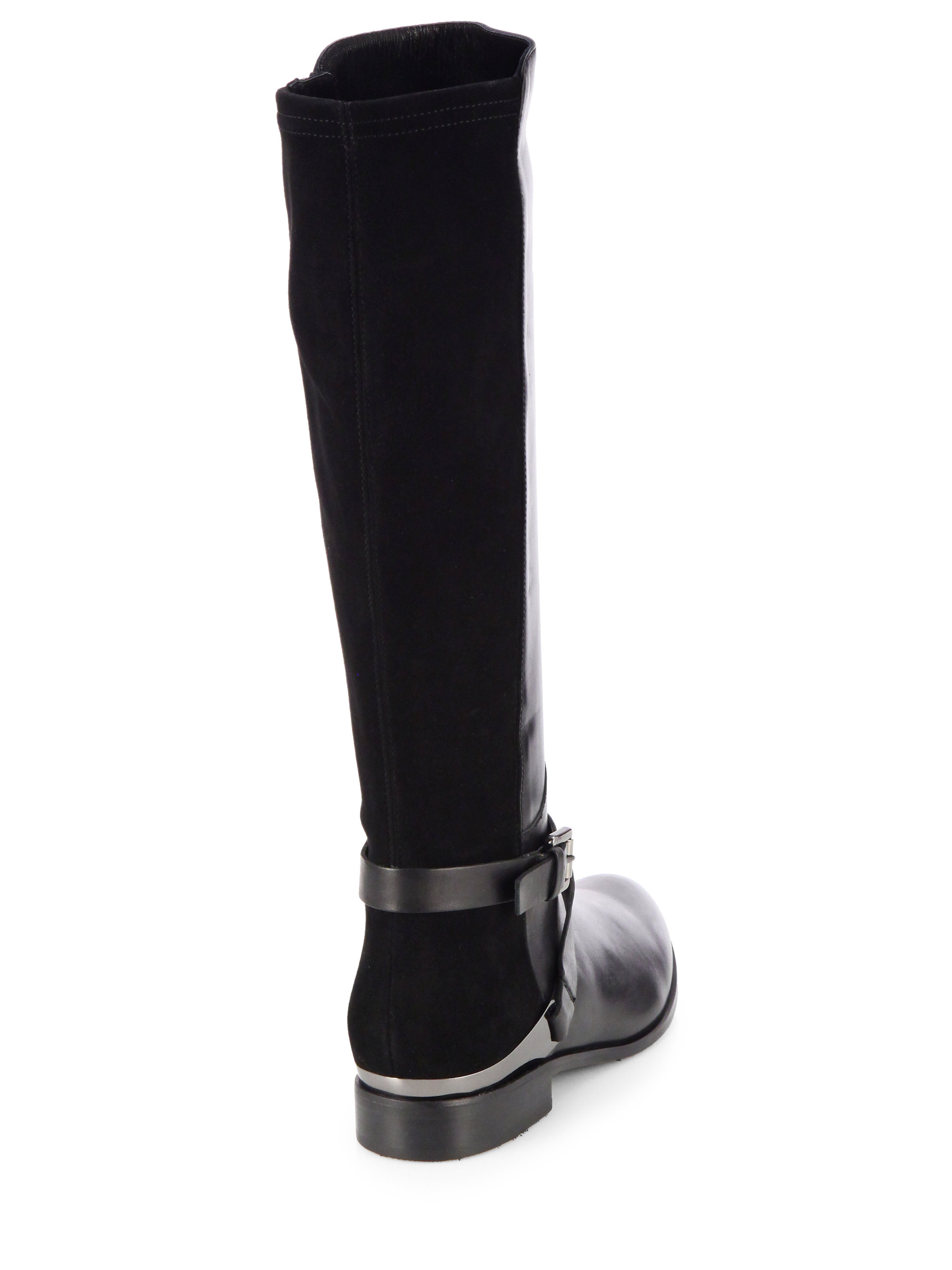 Aquatalia Darla Suede and Leather Riding Boots in Black | Lyst