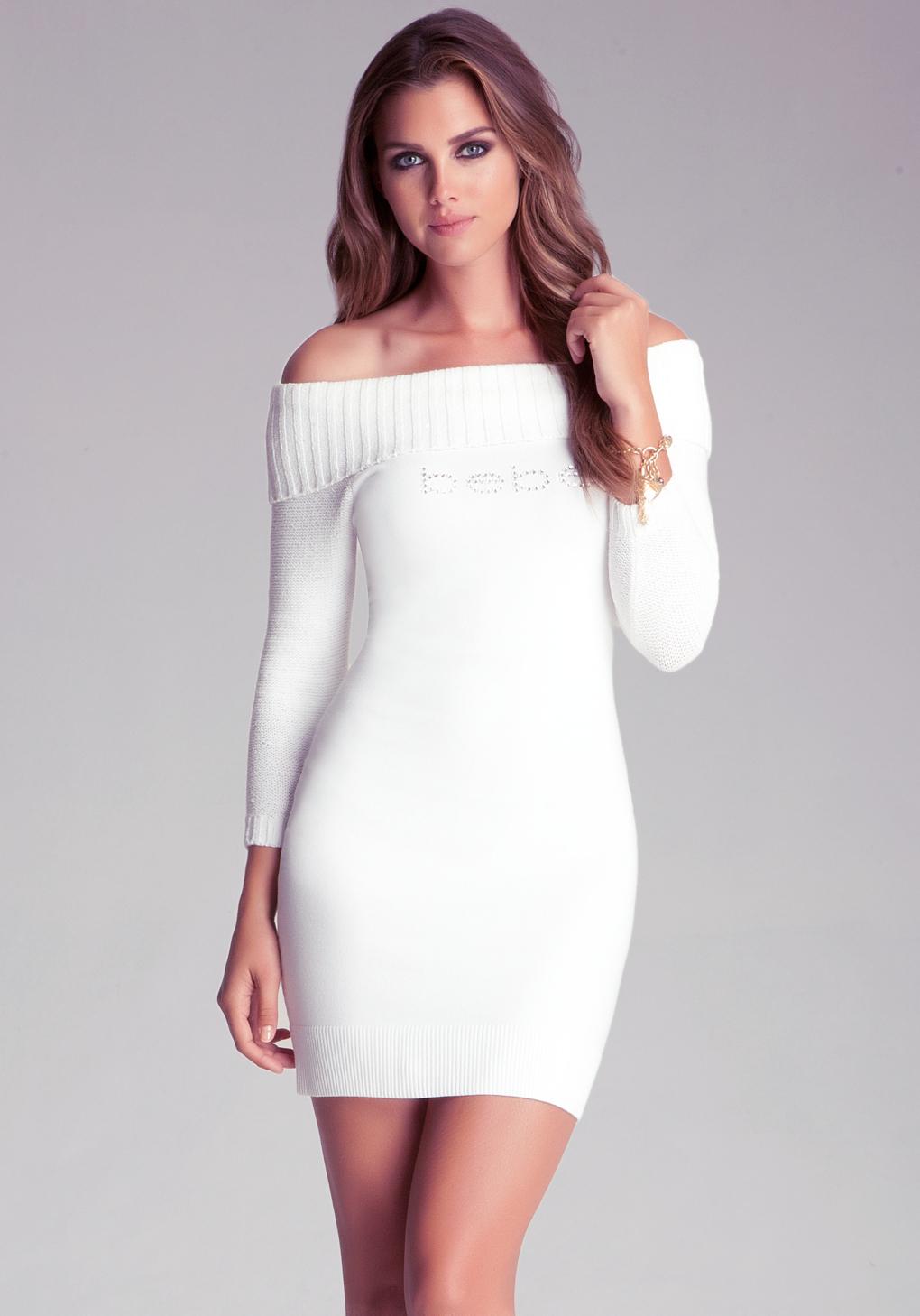 e42f7afa60 Bebe Off Shoulder Sweater Dress in White - Lyst
