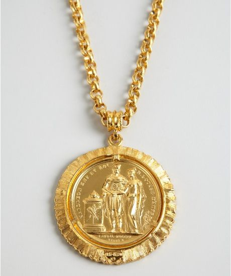 Ben Amun Gold Chain And Large Coin Necklace In Gold Lyst