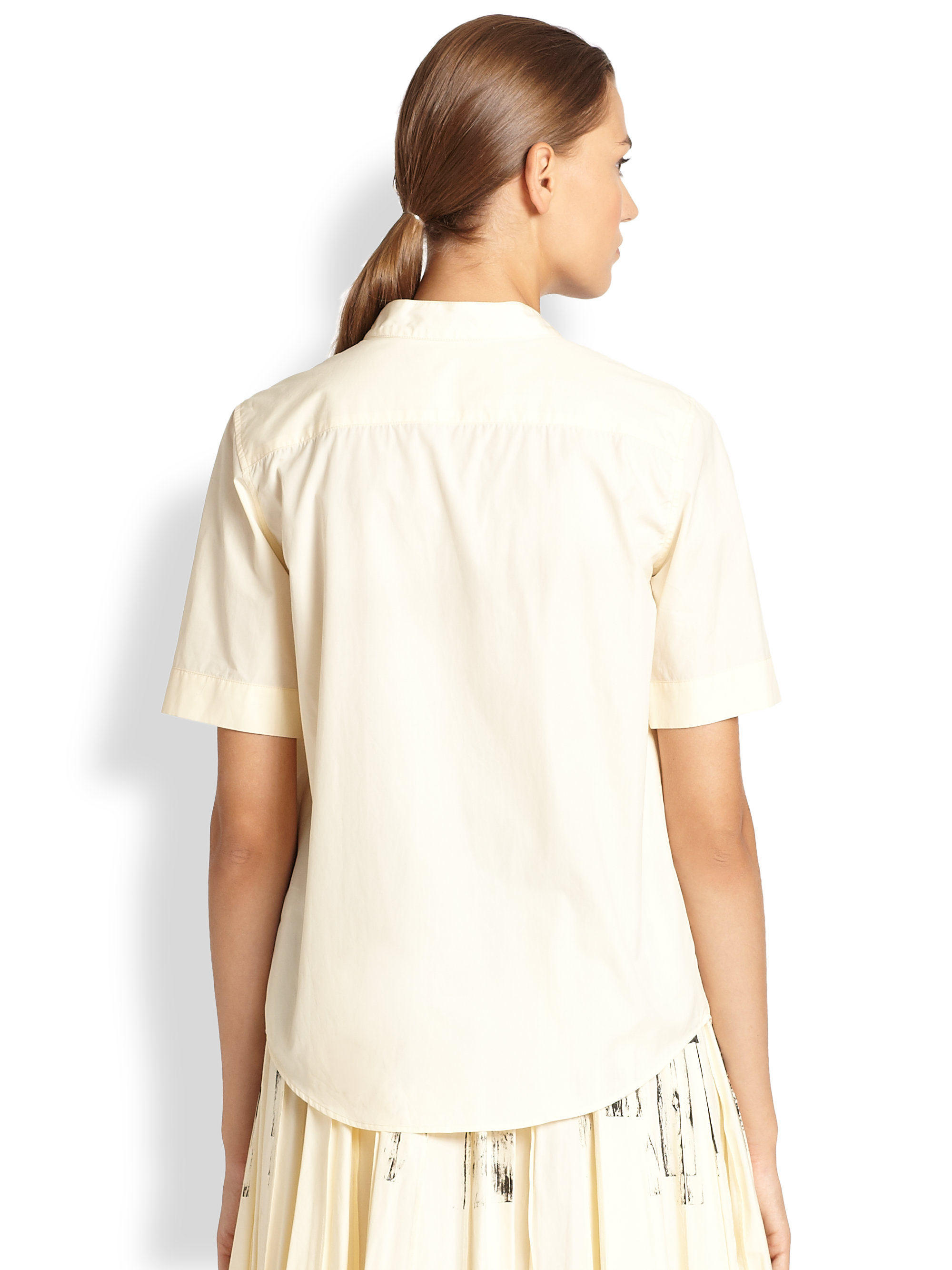 Lyst bottega veneta collar print shirt in white for Bottega veneta t shirt