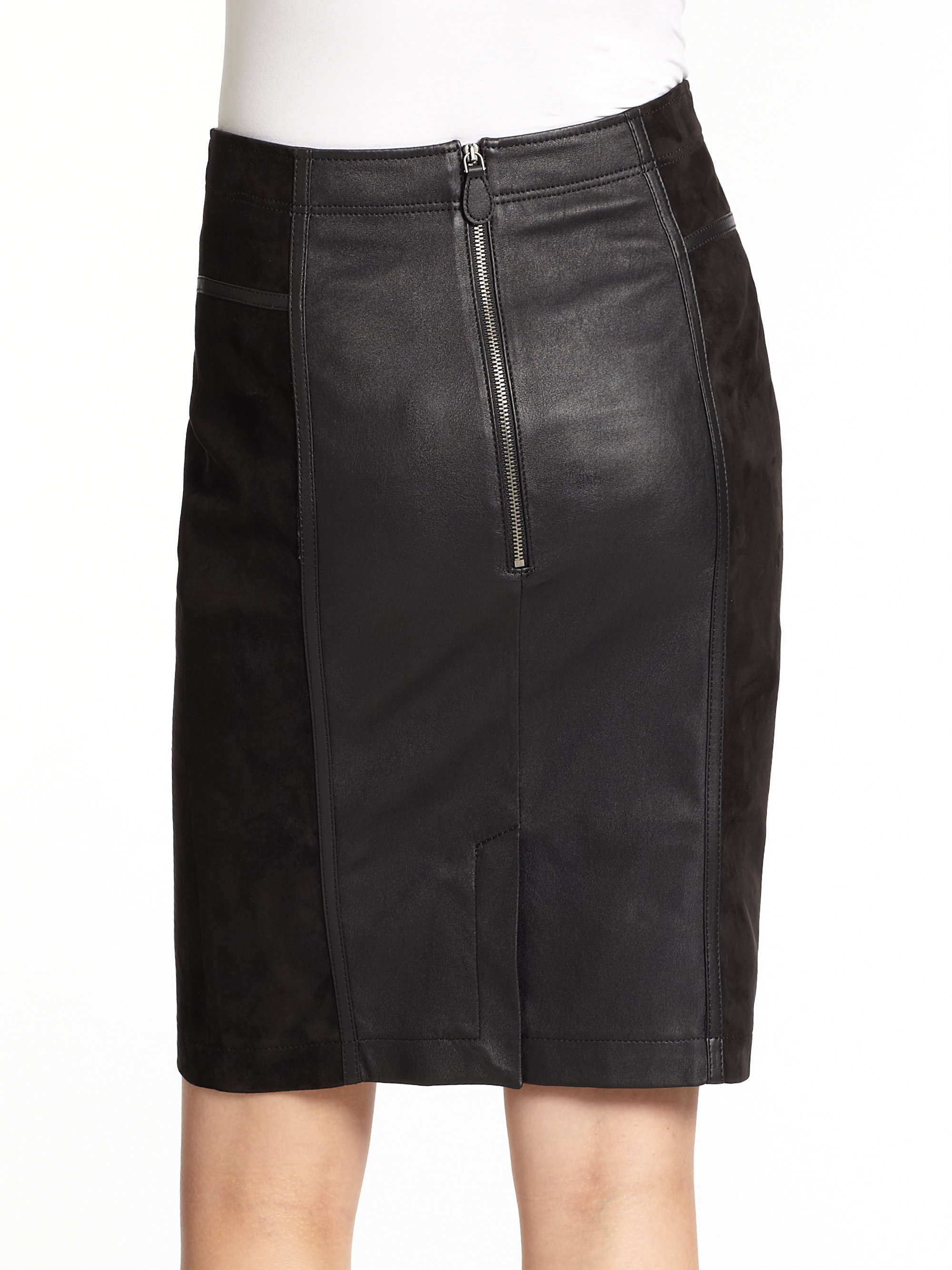 17c7720419 Burberry Brit Leather Suede Skirt in Black - Lyst