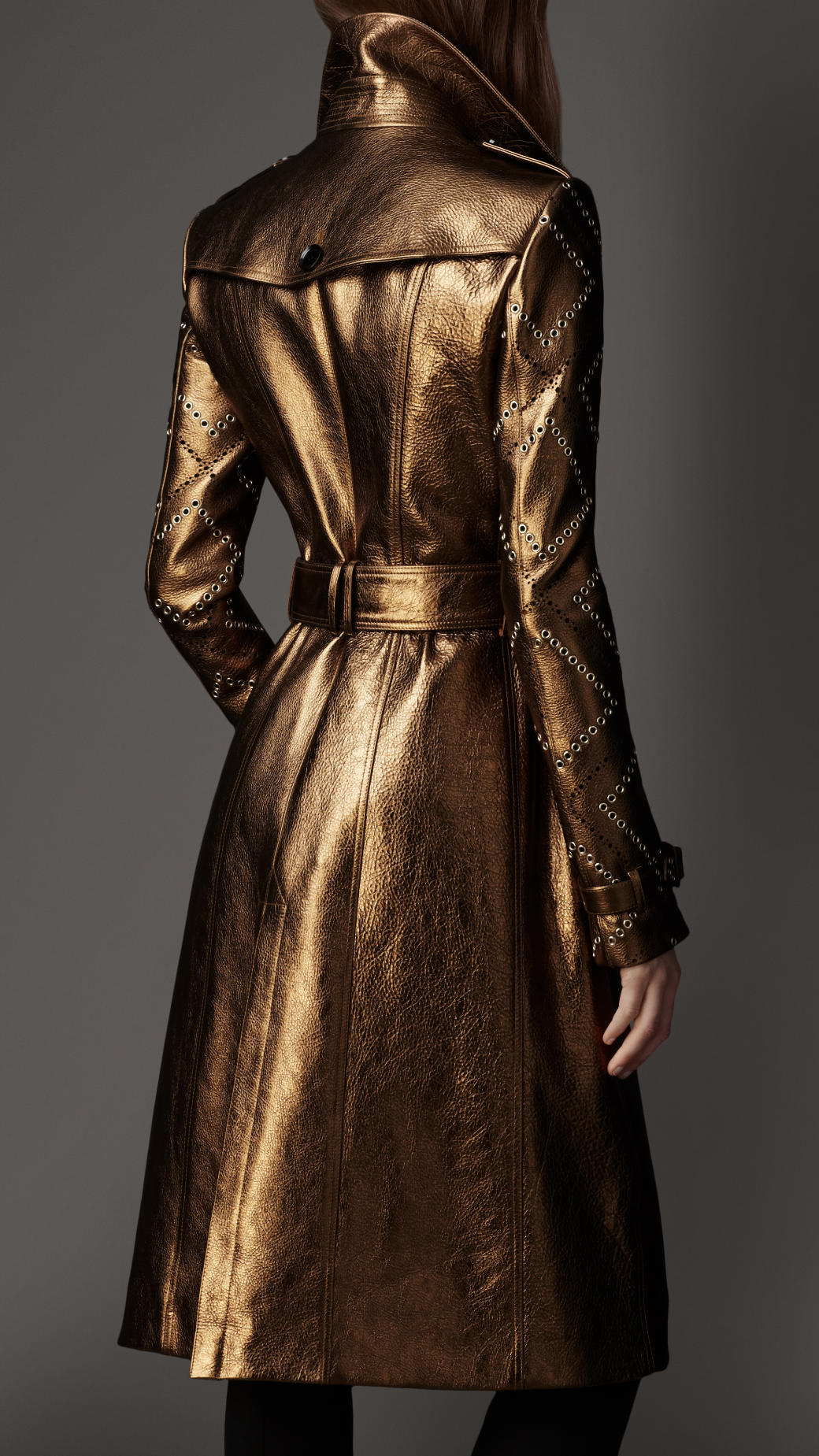 Lyst Burberry Long Eyelet Detail Metallic Leather Trench