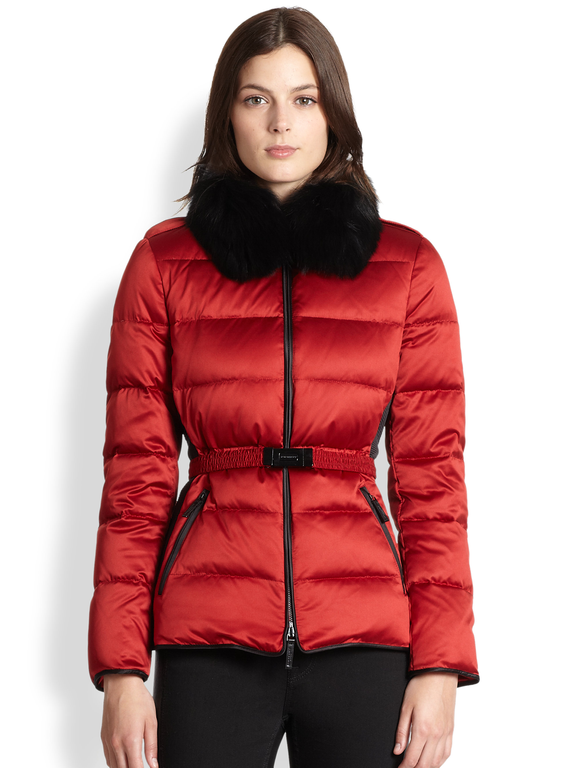 Burberry Furtrimmed Puffer Jacket In Red Damson Red Lyst