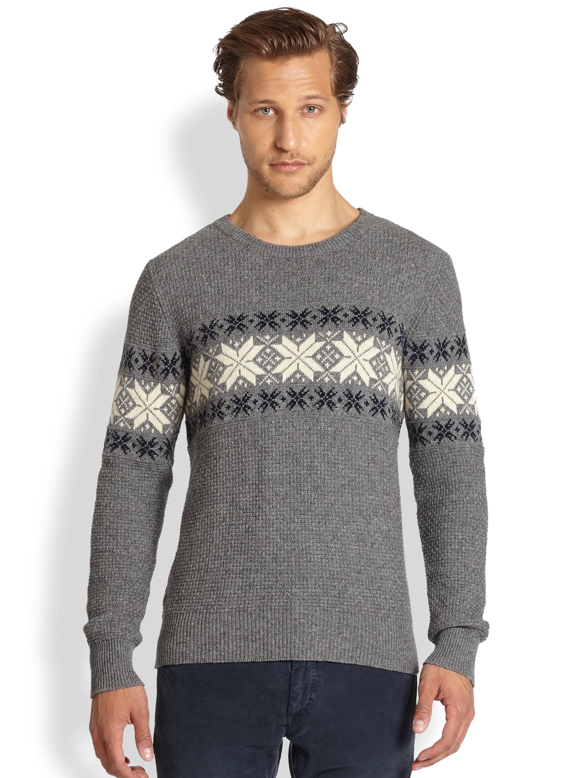 Gant rugger Fairisle Nordic Snowflake Sweater in Gray for Men | Lyst