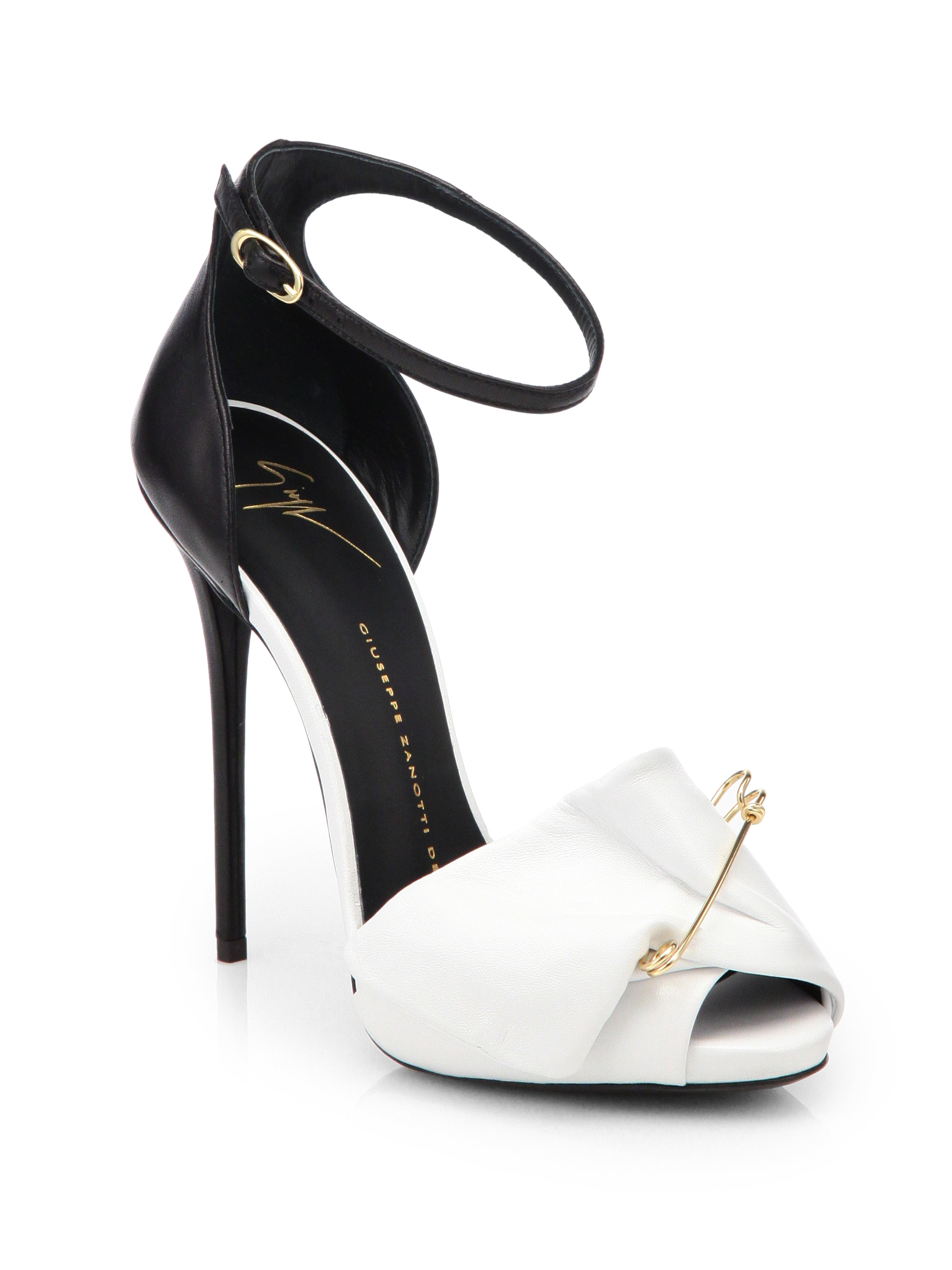 aaa92c0326a44 Giuseppe Zanotti Bicolor Leather Safety Pin Pumps in White - Lyst