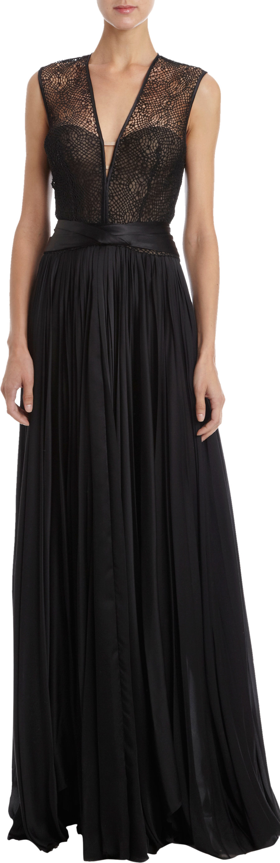 j mendel lace top pleated skirt bustier gown in black lyst