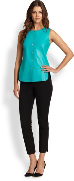 148 Best Images About Fingernail Art On Pinterest: Lafayette 148 New York Leather Snap Front Top In Blue