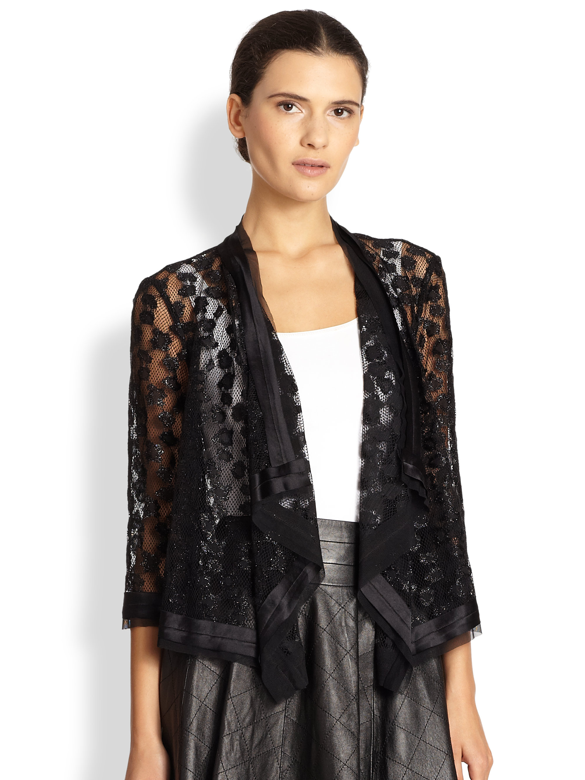 Lyst Milly Draped Lace Jacket In Black