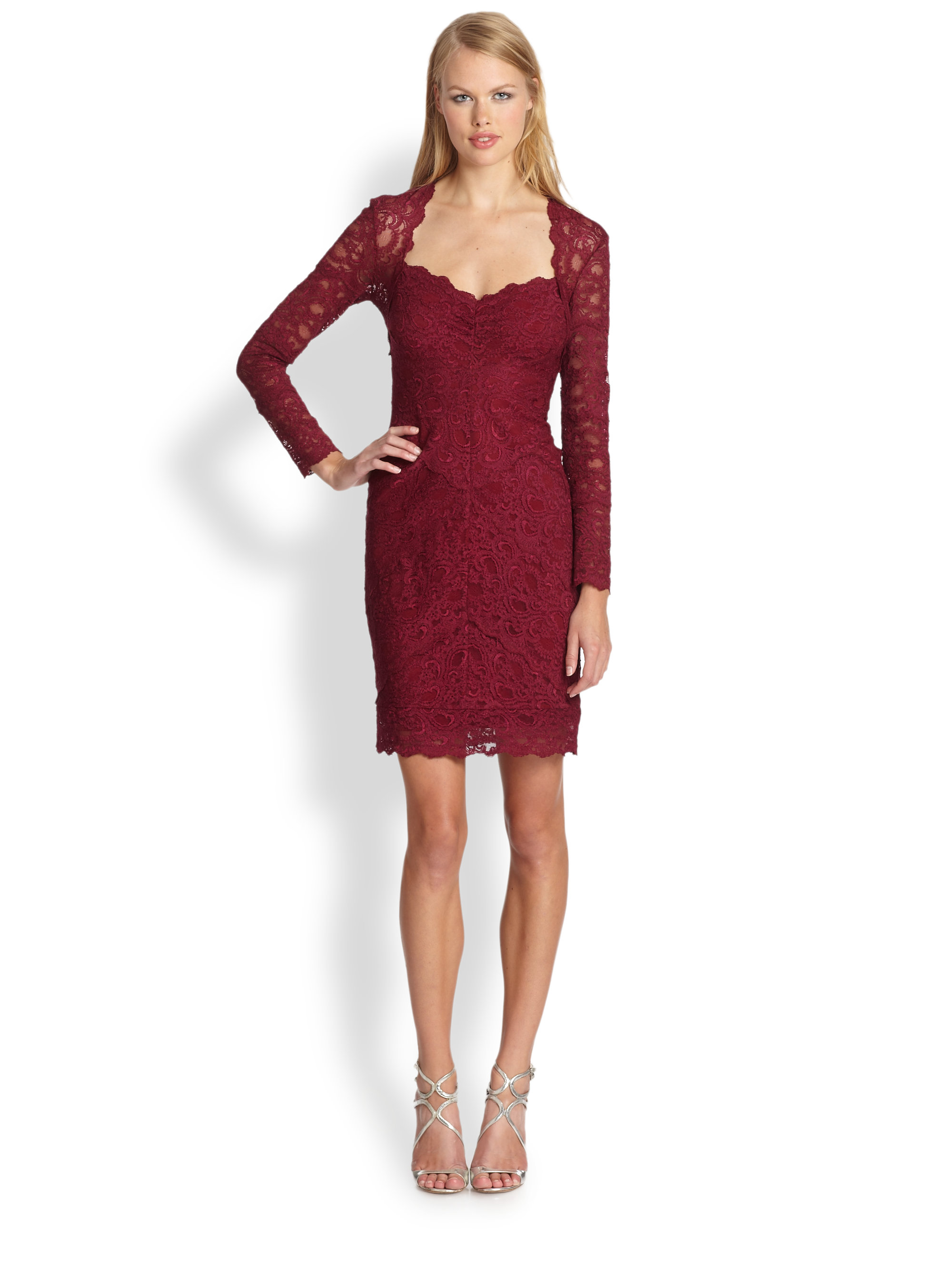 Nicole miller Stretch Lace Dress in Red  Lyst