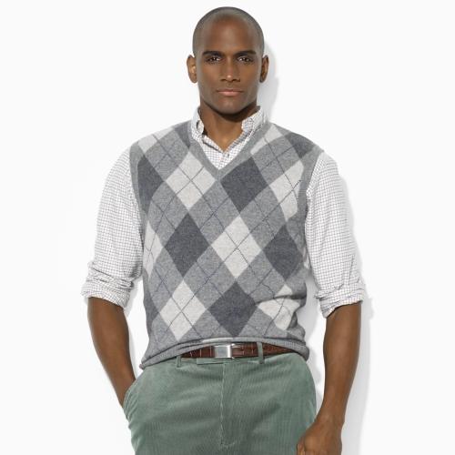 Polo ralph lauren Argyle Vneck Sweater Vest in Gray for Men | Lyst