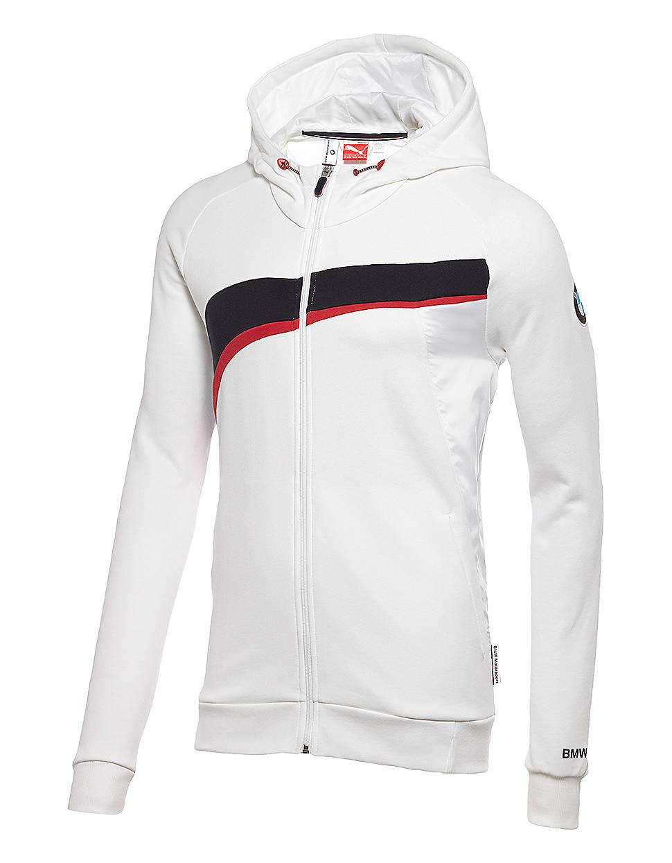 puma bmw hooded sweat jacket in white for men lyst. Black Bedroom Furniture Sets. Home Design Ideas